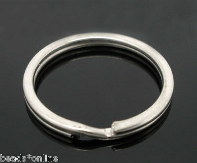 20PCs Silver Tone Split Rings Key Rings 25x1.7mm