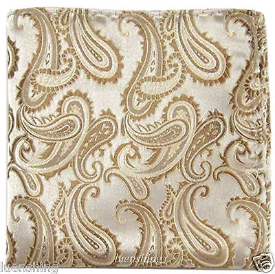 New Brand Q Men's  micro fibe Pocket Square Hankie Only paisley Beige prom party