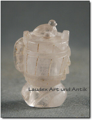 Alte SNUFF BOTTLE AUS CHINA, Bergkristall, Handarbeit, Faß 7 cm [C26379]
