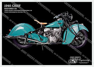"1940 Indian Chief Motorcycle, Restored, 24"" X 17"", Poster, JG-4089, Jerry Greer"