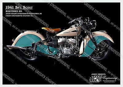 "1941 Indian SPT Scout Motorcycle, Restored, 24"" X 17"",Poster,JG-4162,Jerry Greer"