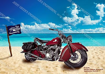"""1946 Indian Chief Motorcycle, Restored, 24"""" X 17"""", Poster, JG-4473, Jerry Greer"""