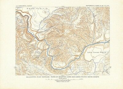 Mountain Home Camas Prairie ID 1908 original antique lithograph topographic map