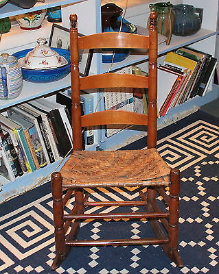 Antique Early New England Shaker Type Rocking Chair Splint Seat Rocker 19th C
