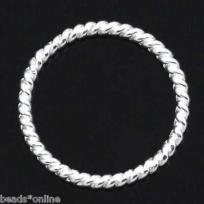 "6//8/"" 250PCs Hello Circle Hoop Ring Connectors//Pendants Silver Tone 18mm Dia."