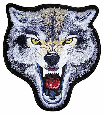 Mean Looking Growling Wolf Animal Embroidered Biker Patch Large FREE SHIP