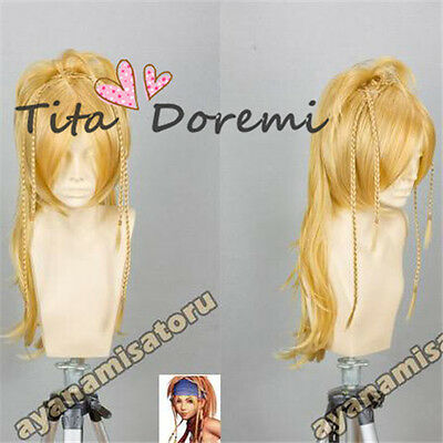 Halloween Wig Hair Cosplay Costume Final Fantasy X 10 Rikku BLONDE Karneval