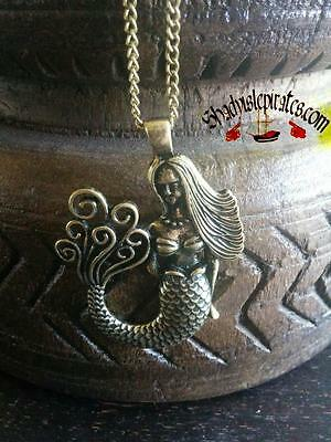 "30"" Vintage Antiqued Brass Mermaid Pendant Chain Necklace"