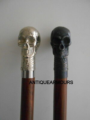 Combo Of 2 Skull Carved Wooden Cane Walking Stick Handmade Exclusive Vintage