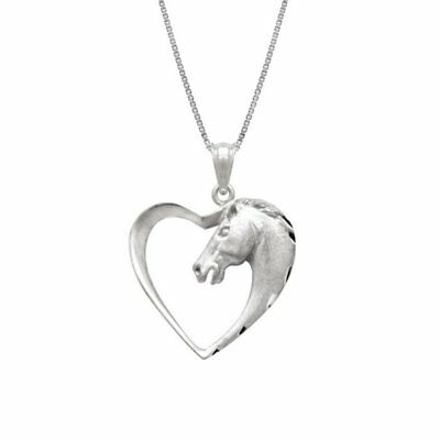 Fashion Silver Plated Swift Horse In Heart Pendant Chain Necklace Women Men Gift