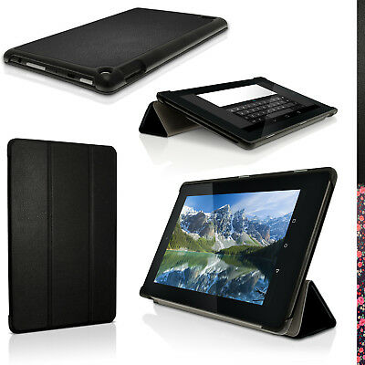 """PU Leather Skin Smart Cover for Amazon Fire 7"""" Tablet (2015) Folio Stand Case"""