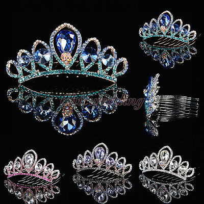Crystal Rhinestone Wedding Flower Girl Tiara Headpiece Kids Princess Crown Color