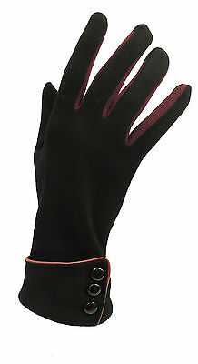 New Vintage 1930s 1940s 50's Style Fine Knit  Black Button Detail Warm Gloves