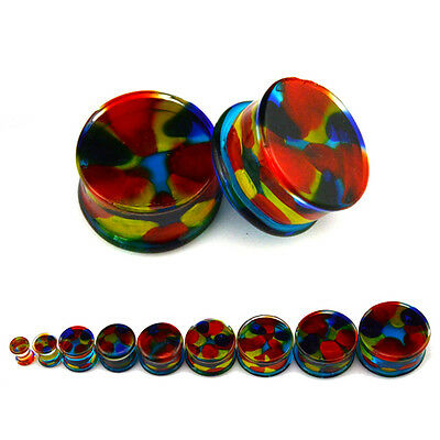 Glass Rainbow Ear Plug Flesh Tunnel Stretcher Expander Double Flared 6mm to 25mm