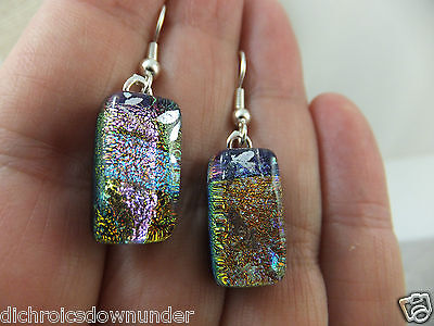 Charisma Design - Handmade Dichroic Glass Earrings with Surgical Steel Hooks