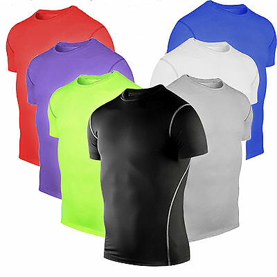 Men Compression Skin Under Base Layers Tops Tight Short Sleeve Jersey T-Shirts