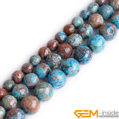 Blue Crazy Lace Agate Gemstone Faceted Round Loose Beads For Jewelry Making 15""