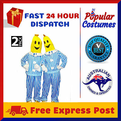 2 PACK Bananas in Pyjamas Mens Womens Fancy Dress Unisex Party Costume B1 B2