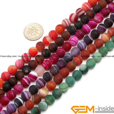 "Wholesale Lot Colorful Matte Striped Onyx Agate Round Loose Spacer Beads 15"" YB"