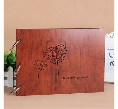 DIY 30Pages 27.3 x 19.8cm Wood Cover 3 Rings Photo Album Scrapbook DANDELION