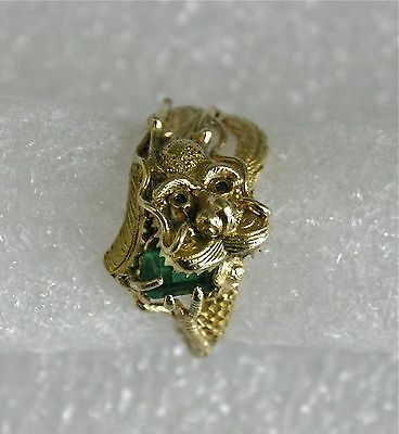 Chinese 22K Gold and Emerald Dragon Ring Qing Dynasty