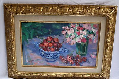 Magnificent French Still Life 1950's Painting By Germaine Lacaze, Listed Artist