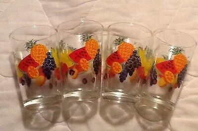 VINTAGE Set 4 SWANKY SWIG FIRNA INDONESIA BRIGHT FRUIT JUICE GLASSES COLORFUL