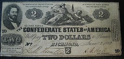 Act of Apr 18th 1862 Two Dollar Confederate Note CS 42 Grading Very Fine SCARCE