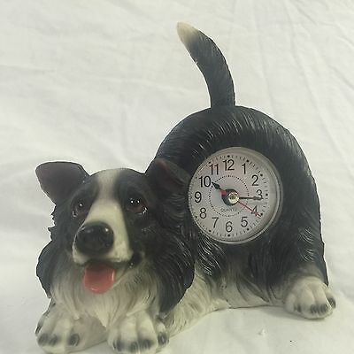 CYBER XMAS SALE!!  Critter Clock Border Collie Tabletop Wagging Tail Puppy Dog