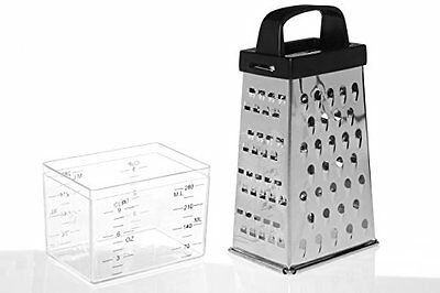 Premier Housewares 4 Sided Grater with Compartment - Stainless Steel