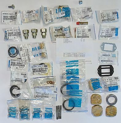 Nos Lot Of Atlas Copco Le/lt Compresor Parts Rings Collars Valves Fittings Etc.