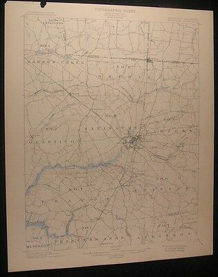 Salisbury Maryland Quantico Mockingbird Pond 1901 vintage USGS original  map