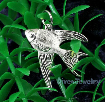 SOLID 925 STERLING SILVER 3D Angelfish FISH Ocean life Beach Pendant Necklace AU