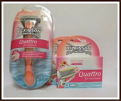 Wilkinson Sword Quattro for Women Papaya & Pearl Rasierer inkl. 7 Rasierklingen