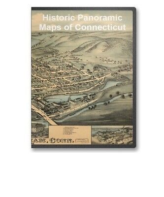 Connecticut CT -  54 Vintage Panoramic City Maps on CD - B145