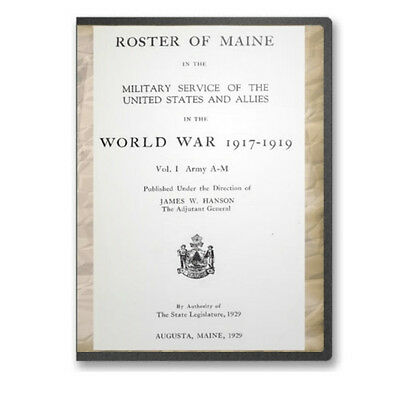 Maine ME Roster of Military Service in World War I WWI - 2 Volumes on CD B479