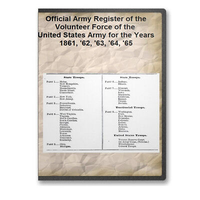 Official Army Register Army Volunteer Forces of Civil War - 8 Volumes CD B471