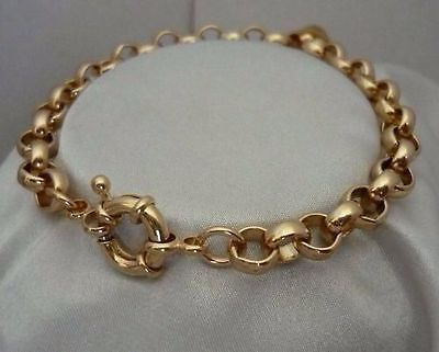 "9K 9ct Yellow ""Gold Filled"" Men Ladies Belcher Chain Bangle Bracelet. 8.7"",797"