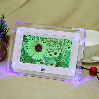 7'' HD TFT-LCD Digital Photo Picture Frame Alarm Clock MP3/4 Movie Player +Light