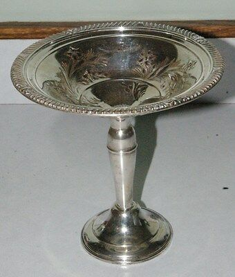 Beautiful Vintage Weighted Sterling Compote Nicely tooled pattern in  dish