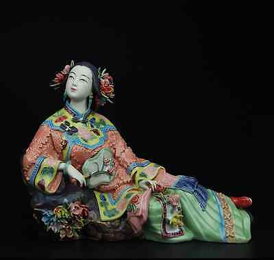 China Palace Pottery Wucai Porcelain Home Display Ladies Art Decoration Statue A