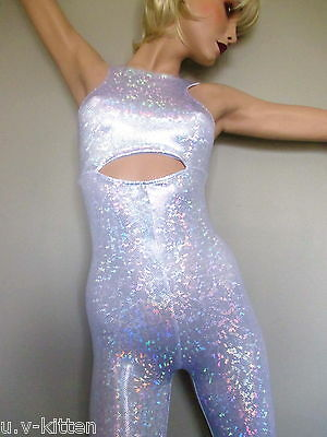 Schminke: Hologram catsuit bodysuit Lycra Dance club festival jumpsuit leotard