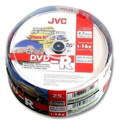 JVC DVD-R 4.7GB 16x Speed 120min Printable/Recordable Glossy Discs Spindle PK 25