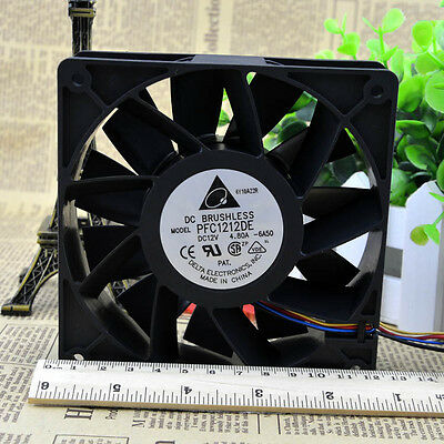 Delta PFC1212DE-PWM 120×120×38MM 12V 4.8A Extreme High Speed PWM Fan 225CFM