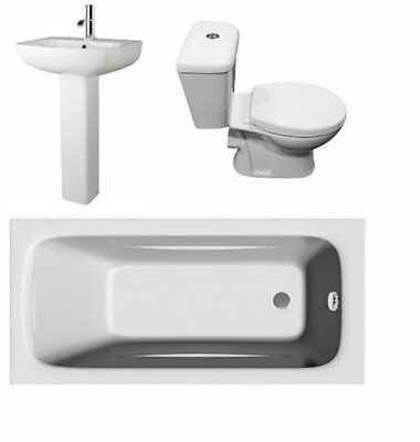 Bathroom Suite 1700mm Bath Pedestal & Basin Close Coupled Toilet Soft Close Seat