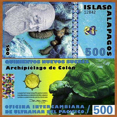 Galapagos Islands, 500 Sucres, 2012, UNC > Holographic Strip