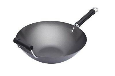 World Of Flavours Oriental Carbon Steel 36cm Non-Stick Phenolic Handled Wok