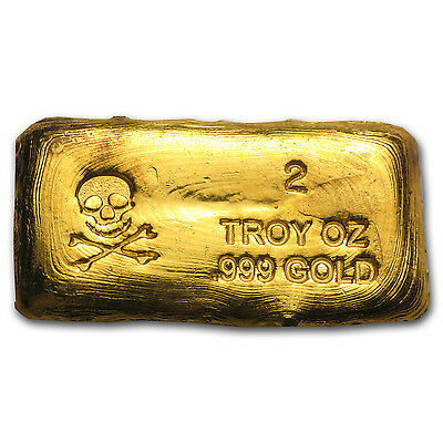 2 oz Skull & Bones Gold Bar - Hand Poured Gold Bar - SKU #79416