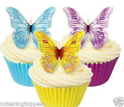 12 Pre Cut Edible Rice Wafer Paper Mixed Butterfly Cupcake Party Toppers