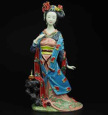 China Pottery Wucai Porcelain Display Decoration Woman Ladies Diao Chan Statue A